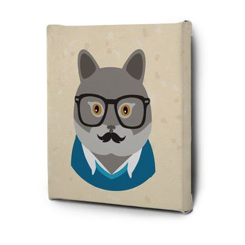 Hipster Animals Pictures Canvas Wall Art Decal Painting Prints Cat1