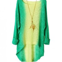 Retro Semi-Sheer Dip Dye Pullovers with Dovetail in Green and Yellow