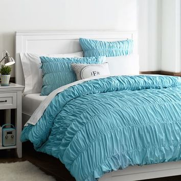 Ruched Duvet Cover + Sham, Sky Blue