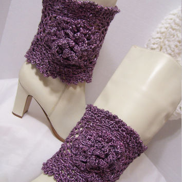 Crochet Lacy Boot Covers Leg Warmers Plum Bonus Matching Infinity Scarf Custom Orders Colors/Combination School Club