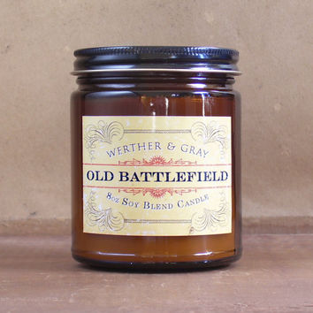 OLD BATTLEFIELD Candle, 8oz Soy Blend, Scented Candle, Man Candle, Gunpowder, Victorian Style Label, Revolutionary Civil War History