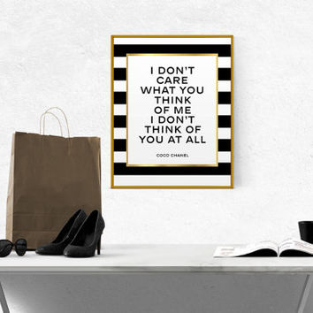 COCO CHANEL QUOTE Chanel Coco Chanel Printable Wall Art Chanel Poster Chanel Print Gold Foil Fashion Printable Fashionista Fashion Printable
