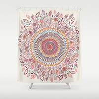Sunflower Mandala Shower Curtain by Janet Broxon