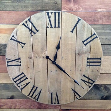 "26"" Rustic Pallet Clock, made from reclaimed wood"