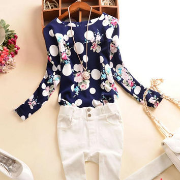 2015 Summer Casual Chiffon Shirts Sexy Deep round-Neck Women Blouses Blue White Long Sleeve Solid Tops