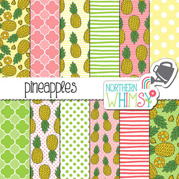 Pineapple Digital Paper - tropical scrapbook paper with seamless pineapple patterns in pink, green & yellow - printable - commercial use OK