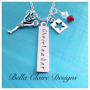 Cheerleader Necklace, Hand Stamped Cheerleader Necklace, Cheer Necklace, Cheer Jewelry, Cheerleader Jewelry, swarovski Crystal cheerleader