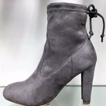 Amaya-8 Ankle High Tie Lace Up Pull On Block Chunky Heel Bootie Boot Shoe Gray