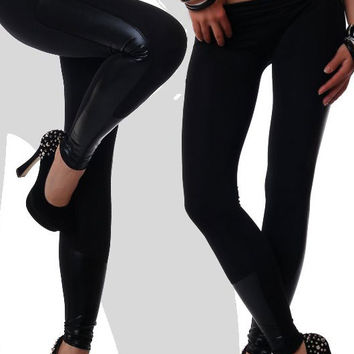 Faux Leather Trim Black Stretch Leggings