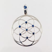 Sacred Geometry, Sterling Silver Seed of Life Pendant with Blue Sapphires and Custom Blue Sapphire Bail