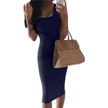 Women Office Scoop Collar Sleeveless  Summer Dress