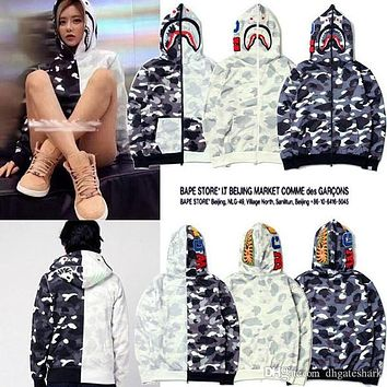 Newest Europe American Tide Brand Men's Shark Hooded Camo Sweater Jacket Men Women Camouflage Plus Cashmere Sweater Hoodie
