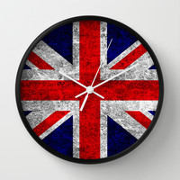 Union Jack Grunge Flag Wall Clock by Alice Gosling