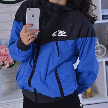 Kalete NIKE Jacket Hoodie Windbreaker Coat Blue+Black