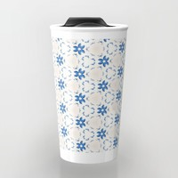 Acrylic Blue Floral Triangles Travel Mug by Doucette Designs
