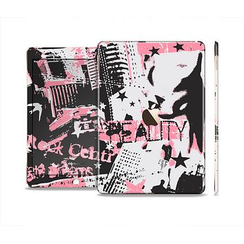 The Pink & Black Abstract Fashion Poster Skin Set for the Apple iPad Air 2