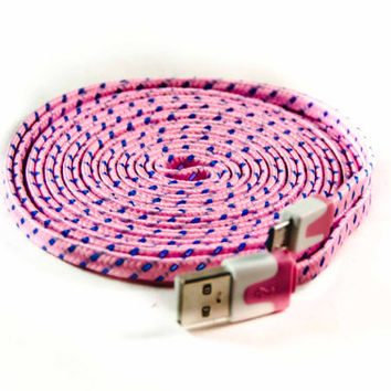New 6 feet long chargers,  Iphone 5 & 6, fabric phone chargers, 30-day guarantee, free shipping, the360shop, christmas, gifts, usb, fun cord