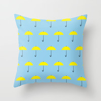 HIMYM Yellow Umbrella Throw Pillow by tralalavelling
