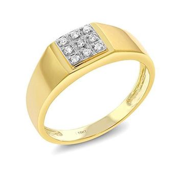 CERTIFIED 0.09 carats 10K Solid Yellow Gold White Diamond Wedding Anniversary Ring