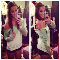 Studded Dip Dyed Ombré Mint Green Off the Shoulder Sweatshirt Sz. Small