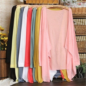 New Long-Sleeved Cardigan Thin Transparent Conditioning 8 Colors IND [8805244999]