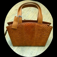 Brown fish skin leather womans bag