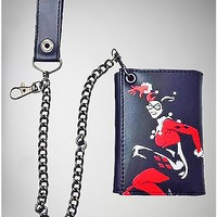 Harley Quinn Sublimated Trifold Chain Wallet - Spencer's