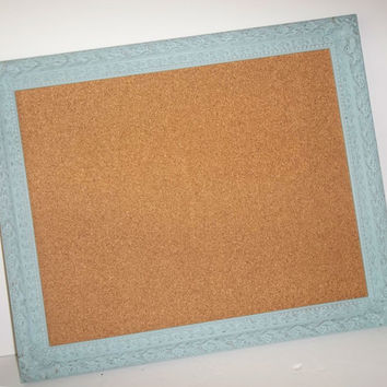 French Blue Ornate Distressed Framed Cork Board