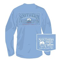 Cotton Antiques Long Sleeve Tee in Faded Jeans by Southern Fried Cotton