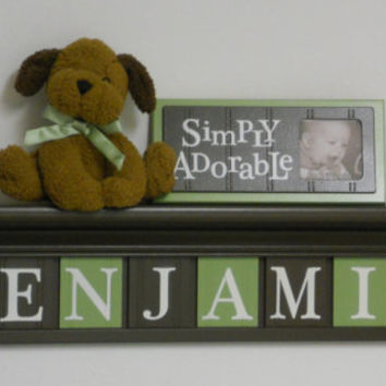 "Brown and Green Shelving for Nursery 30"" Shelf - 8 Wooden Wall Letters Personalized for BENJAMIN"