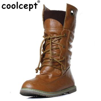 Coolcept Plus Size 32-52 Vintage Motorcycle Ankle Boots For Women Winter Autumn Snow Boots Leather Flats Motorcycle Boots Shoes