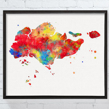 Singapore Map, Singapore Poster, Watercolor Map Print, Map Poster, Travel Print, Geography, Country Map, Countries, Framed Art, Custom