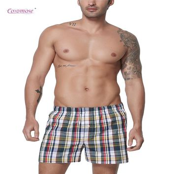 Coromose Men's Home Casual Pants Pure Cotton Printing Loose Boxer Short Pyjamas Plaid Pant Men Summer Beach Shorts Boxers