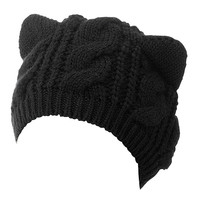 Black Cat Ears Knit Beanie Hat