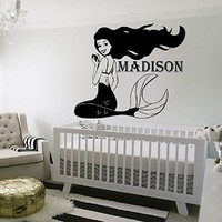 Personalized Name Wall Decals Girl Decal Vinyl Water Sticker Mermaid Art For Nursery Bedroom Home Decor Murals MN956