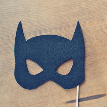 Bat Girl Super Hero Mask Prop // Photo Prop // Bat Girl Mask // Felt Photo Prop on a stick // Super Hero Wedding // Photo Booth Props