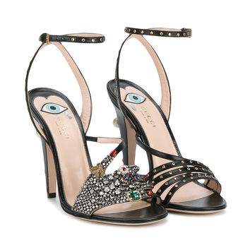 Gucci Crystal Hand Applique Embellished Sandals - Farfetch