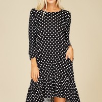Annabelle's Knit Dress Featuring polka dot print, round, scoop neck 3/4 sleeves