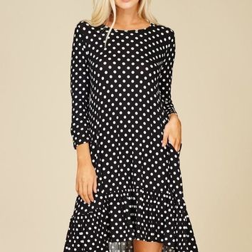 Knit Dress Featuring polka dot print, round, scoop neck 3/4 sleeves