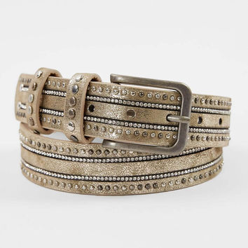 BKE Faux Leather Shimmer Belt - Women's Accessories in Cream Shimmer | Buckle