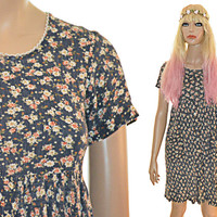 90s Floral Babydoll Dress Mini Courtney Love Vintage Grunge XXS XS