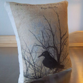 Primitive garden, pillow, Edgar Allen Poe quote, grungy patio decor, throw pillow, garden gift, cotton canvas cushion, Poe raven fan gift