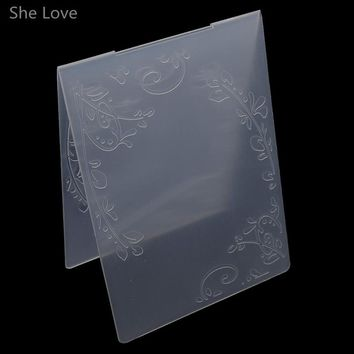 She Love Scrapbooking Embossing Folder Two Flowers Plastic Template DIY Papercraft Card Making Decoration