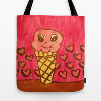 Kawaii ice cream Tote Bag by helendeer