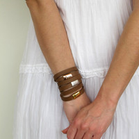 NEW Set of 3 leather wrap bracelets in brown with silver and gold plated closures SOT02