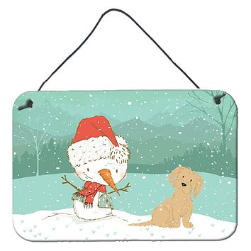 Brown Maltese Snowman Christmas Wall or Door Hanging Prints CK2093DS812