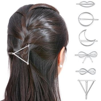 Set of 6 Gold or Silver Moon Geometric Infinity Hair Clips