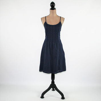 Womens Sundress Casual Navy Blue Dress Cotton Summer Dress Medium Racerback Size 10 Dress Womens Clothing