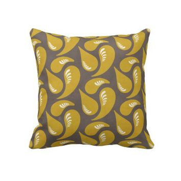 Mustard Yellow Swirl & Plaid Throw Pillow from Zazzle.com