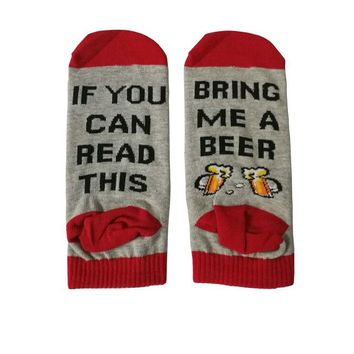 2018 Summer Funny Cotton Socks if you can read this bring me a Pizza Beer Wine Donut Coffee Humor Words Women Men Ankle Socks